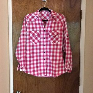 Tops - Flannel Plaid in Hot Pink and Off White